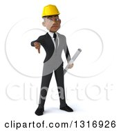 Clipart Of A 3d Young Black Male Architect Giving A Thumb Down And Holding Plans Royalty Free Illustration