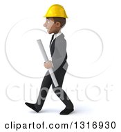 Clipart Of A 3d Young Black Male Architect Holding Plans Walking To The Left Royalty Free Illustration