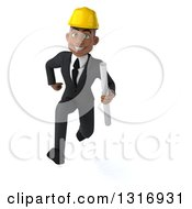 Clipart Of A 3d Young Black Male Architect Holding Plans And Sprinting Royalty Free Illustration