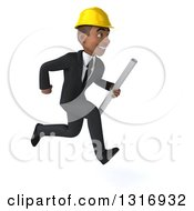 Clipart Of A 3d Young Black Male Architect Holding Plans And Sprinting To The Right Royalty Free Illustration