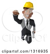 Clipart Of A 3d Young Black Male Architect Holding Plans And Flying Royalty Free Illustration