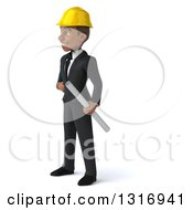 Clipart Of A 3d Young Black Male Architect Holding Plans Facing Left With One Hand On His Hip Royalty Free Illustration