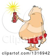 Clipart Of A Cartoon Fat White Man In Swim Shorts Holding A Firecracker And Match Royalty Free Vector Illustration