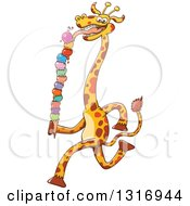 Clipart Of A Cartoon Giraffe Running And Licking A Giant Waffle Ice Cream Cone Royalty Free Vector Illustration by Zooco
