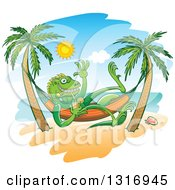 Clipart Of A Cartoon Relaxed Iguana Lizard Waving Drinking Iced Tea In A Hammock On A Tropical Beach Royalty Free Vector Illustration by Zooco #COLLC1316945-0152