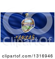 Clipart Of A 3d Rippling State Flag Of Kansas USA Royalty Free Illustration