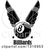 Clipart Of A Black And White Winged Billiards Eightball With Stars Over Text Royalty Free Vector Illustration