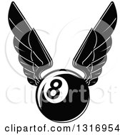 Clipart Of A Black And White Winged Billiards Eightball Royalty Free Vector Illustration by Vector Tradition SM