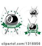 Clipart Of Billiards Pool Eightballs With Crossed Cue Sticks Stars Wreaths And Banners With Text Royalty Free Vector Illustration
