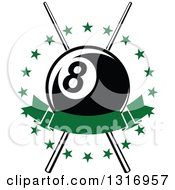 Clipart Of A Billiards Pool Eightball Over Crossed Cue Sticks In A Circle Of Stars With A Blank Green Banner Royalty Free Vector Illustration