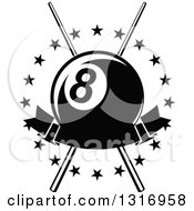 Clipart Of A Black And White Billiards Pool Eightball Over Crossed Cue Sticks In A Circle Of Stars With A Blank Banner Royalty Free Vector Illustration