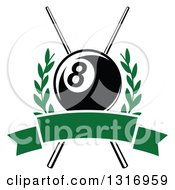 Clipart Of A Billiards Pool Eightball Over Crossed Cue Sticks In A Laurel Wreath With A Blank Green Banner Royalty Free Vector Illustration by Vector Tradition SM