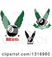 Clipart Of Winged Billiards Eightballs And Text Royalty Free Vector Illustration