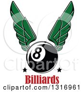 Clipart Of A Winged Billiards Eightball With Stars Over Text Royalty Free Vector Illustration