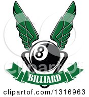 Clipart Of A Winged Billiards Eightball Over A Rack And Text Banner Royalty Free Vector Illustration