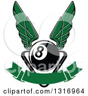 Clipart Of A Winged Billiards Eightball Over A Rack And Blank Banner Royalty Free Vector Illustration