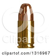 Clipart Of A 3d Copper Bullet On White Royalty Free Illustration