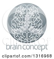 Clipart Of A Shiny Circuit Board Artificial Intelligence Computer Chip Brain In A Circle Over Sample Text Royalty Free Vector Illustration