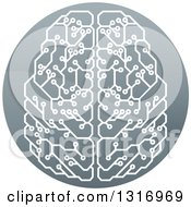 Clipart Of A Shiny Circuit Board Artificial Intelligence Computer Chip Brain In A Circle Royalty Free Vector Illustration
