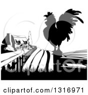 Clipart Of A Black And White Farm House Silhouetted Crowing Rooster And Fields Royalty Free Vector Illustration by AtStockIllustration