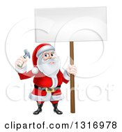 Clipart Of A Happy Christmas Santa Claus Carpenter Holding A Hammer And Blank Sign Royalty Free Vector Illustration