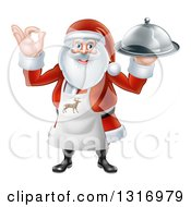 Clipart Of A Happy Christmas Santa Claus Chef Gesturing Ok And Holding A Food Cloche Platter Royalty Free Vector Illustration