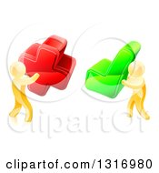 Clipart Of 3d Right And Wrong Gold Men Carrying X And Check Marks Royalty Free Vector Illustration