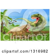 Clipart Of A 3d Hungry Tyrannosaurus Rex Dinosaur Attacking A Triceratops Royalty Free Vector Illustration by AtStockIllustration