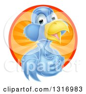 Clipart Of A Pleased Blue Bird Character Giving A Thumb Up And Emerging From A Circle Of Sunshine Royalty Free Vector Illustration by AtStockIllustration