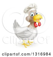 Poster, Art Print Of Happy White And Brown Chicken Chef Facing Right