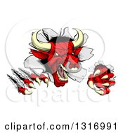Clipart Of A Mad Aggressive Clawed Red Bull Monster Slashing Through A Wall Royalty Free Vector Illustration