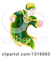 Clipart Of A Happy Blue Eyed Brunette Caucasian Male Super Hero Running In A Green Suit Royalty Free Vector Illustration