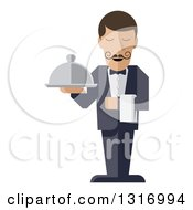 Clipart Of A Modern Design Male Waiter With A Curling Mustache Holding A Cloth Napkin And Cloche Platter Royalty Free Vector Illustration