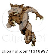 Clipart Of A Brown Muscular Wolf Man Sprinting Or Running Upright Royalty Free Vector Illustration