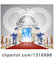 Clipart Of A VIP Venue Entrance With Welcoming Friendly Doormen Red Carpet Posts And Fame Text Royalty Free Vector Illustration by AtStockIllustration