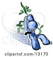 Blue Man Swinging On A Vine Like Tarzan Clipart Illustration
