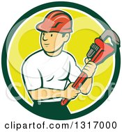 Clipart Of A Retro Cartoon White Male Plumber Holding A Giant Monkey Wrench In A Green White And Yellow Circle Royalty Free Vector Illustration