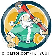 Clipart Of A Cartoon Plumber Santa In A Green Suit Holding A Monkey Wrench Over His Shoulder In A Navy Blue White And Yellow Circle Royalty Free Vector Illustration by patrimonio