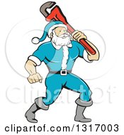Clipart Of A Cartoon Plumber Santa In A Blue Suit Holding A Monkey Wrench Over His Shoulder Royalty Free Vector Illustration