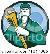 Clipart Of A Retro Male Plumber Holding A Monkey Wrench In A Green And Blue Circle Royalty Free Vector Illustration