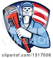 Clipart Of A Retro Male Plumber Holding A Monkey Wrench And Amerging From An American Flag Shield Royalty Free Vector Illustration