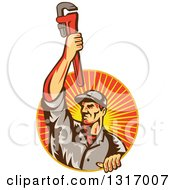 Clipart Of A Retro White Male Plumber Holding Up A Monkey Wrench And Emerging From A Sunset Ray Circle Royalty Free Vector Illustration