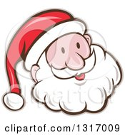 Clipart Of A Cartoon Happy White Santa Claus Face Royalty Free Vector Illustration
