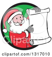 Clipart Of A Cartoon Happy White Santa Claus Holding And Pointing To A Christmas Scroll List And Emerging From A Black And Green Circle Royalty Free Vector Illustration