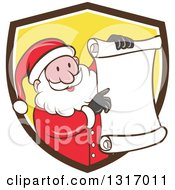 Clipart Of A Cartoon Happy White Santa Claus Holding And Pointing To A Christmas Scroll List And Emerging From A Brown White And Yellow Shield Royalty Free Vector Illustration