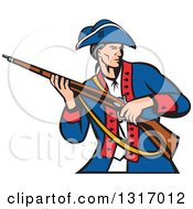 Clipart Of A Retro Cartoon American Patriot Militia Soldier Carrying A Musket Rifle Royalty Free Vector Illustration