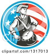 Clipart Of A Retro American Revolutionary War Soldier Patriot Minuteman Drummer In A Circle Of Stars And Stripes Royalty Free Vector Illustration
