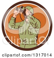 Clipart Of A Retro World War Two American Soldier Using Binoculars In A Brown And White Circle Royalty Free Vector Illustration