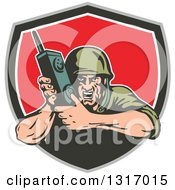 Clipart Of A Retro Cartoon World War Two Soldier Holding A Field Radio In A Taupe Green White And Red Shield Royalty Free Vector Illustration