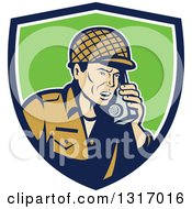 Clipart Of A Retro Cartoon World War Two Soldier Talking On A Field Radio In A Blue White And Green Shield Royalty Free Vector Illustration